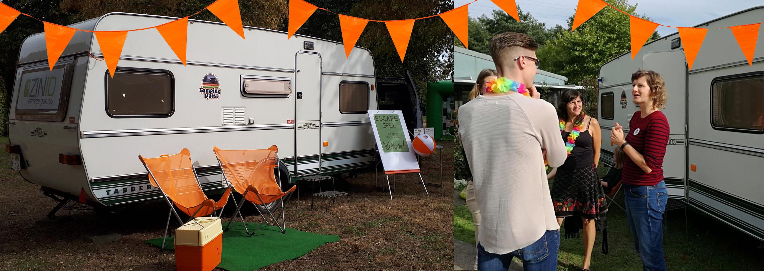 Opstelling Escape Caravan en speluitleg bij 'Camping Quest'